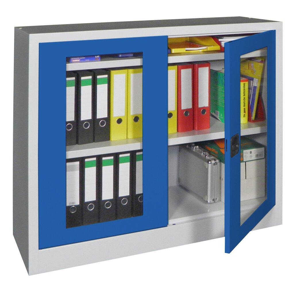 Stahlschrank mit sichtfenstert ren 100 cm hoch 120 cm for Kuchenschranke 60 cm breit