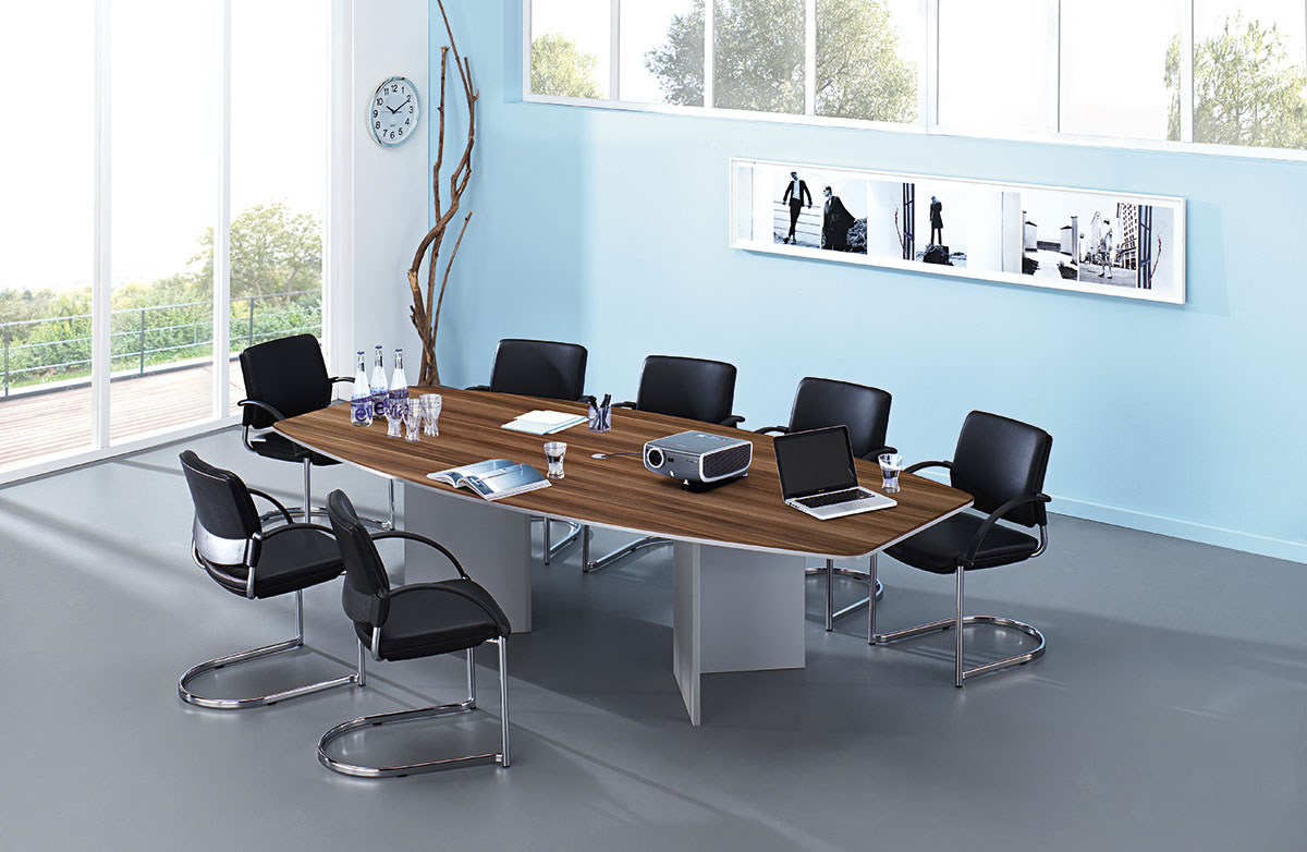 Konferenztisch in Bootsform mit Holzgestell 280 x 130 cm ...