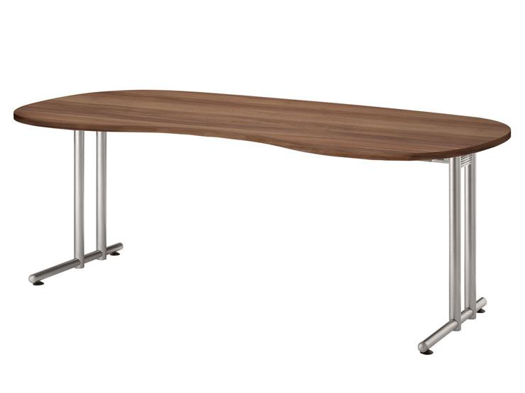 schreibtisch c3 nierenform 200 x 100 cm gestell chrom. Black Bedroom Furniture Sets. Home Design Ideas