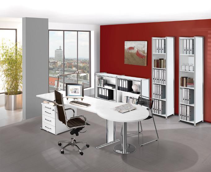 Büromöbel weiß chrom  Schreibtisch Glas und chrom - bueromoebel-blitz.de