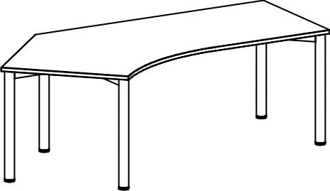 Schreibtisch skizze  Schreibtisch Serie R1, höhenverstellbar 135° Winkel links 113 x ...