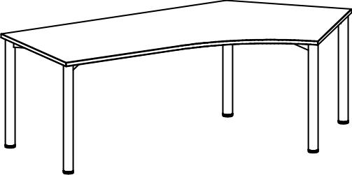 Schreibtisch skizze  Schreibtisch Serie R1, höhenverstellbar 135° Winkel rechts 113 x ...